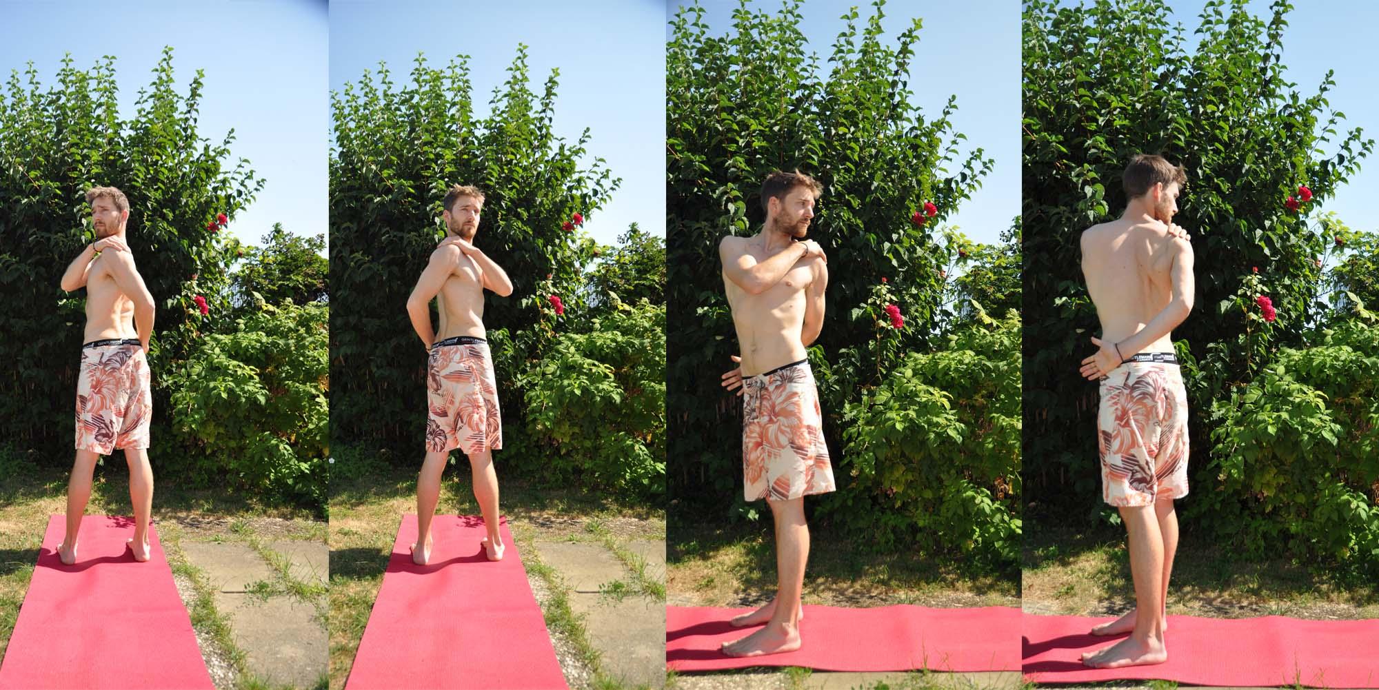 Kati Chakrasana est une rotation de la taille, 3ème posture du décrassage yogique.