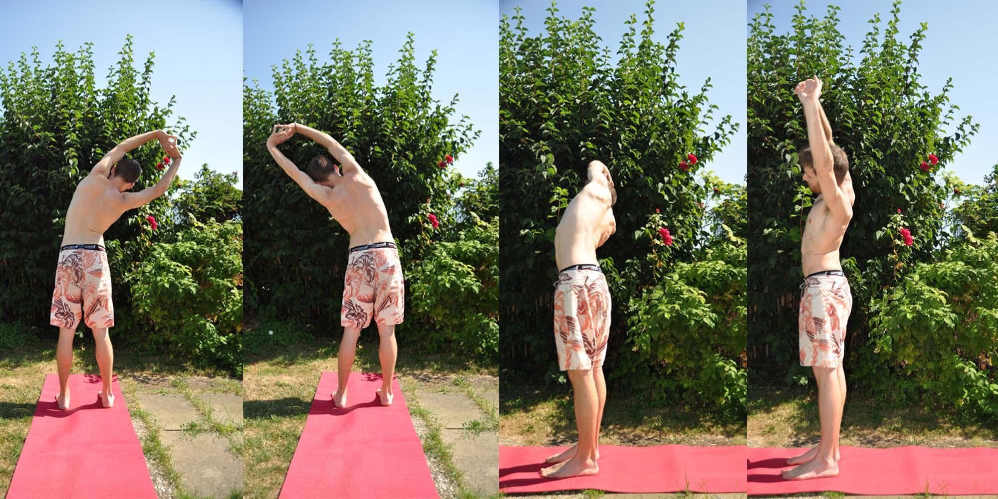 Tiryaka Tadasana, le palmier qui se plie, est la 2ème posture du lavement yogique.