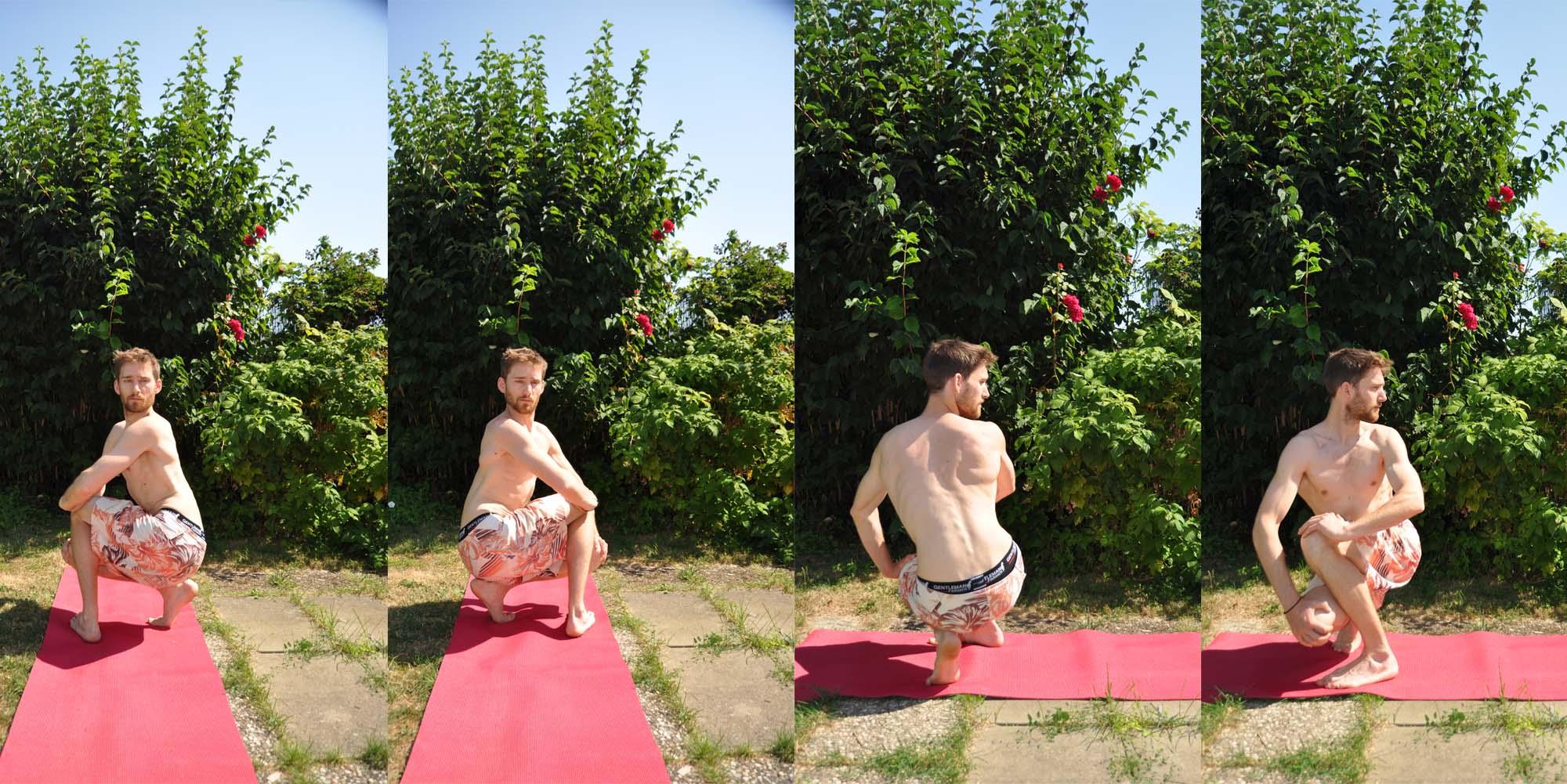Udarakarshanasana est un étirement abdominal, 5ème et dernier asana du décapage yogique.